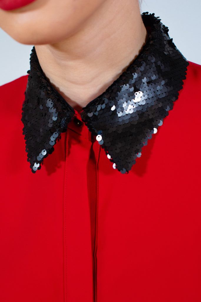 Red shirt with sequins collar