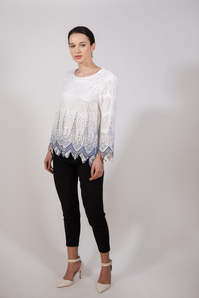 White and blue lace blouse