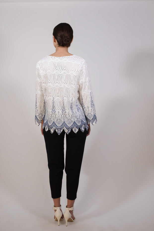 White lace blouse with blue detail