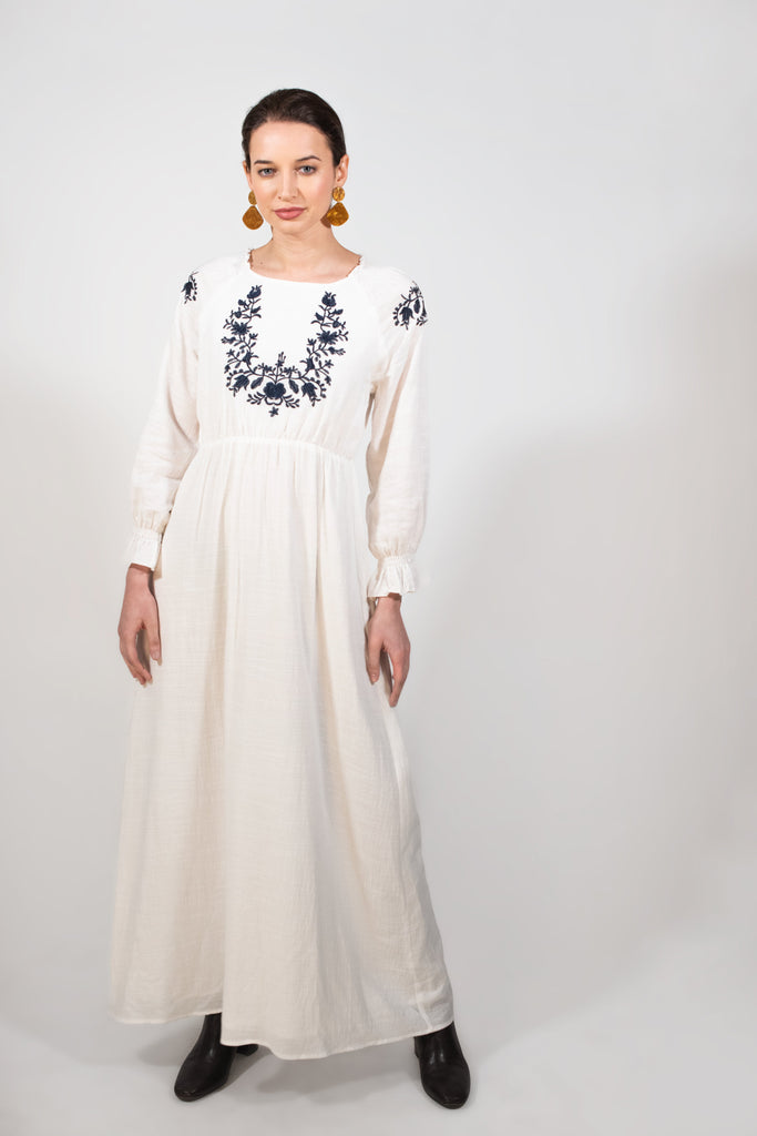 white Cotton embroidered dress