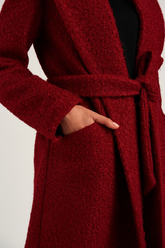 Red wrap coat