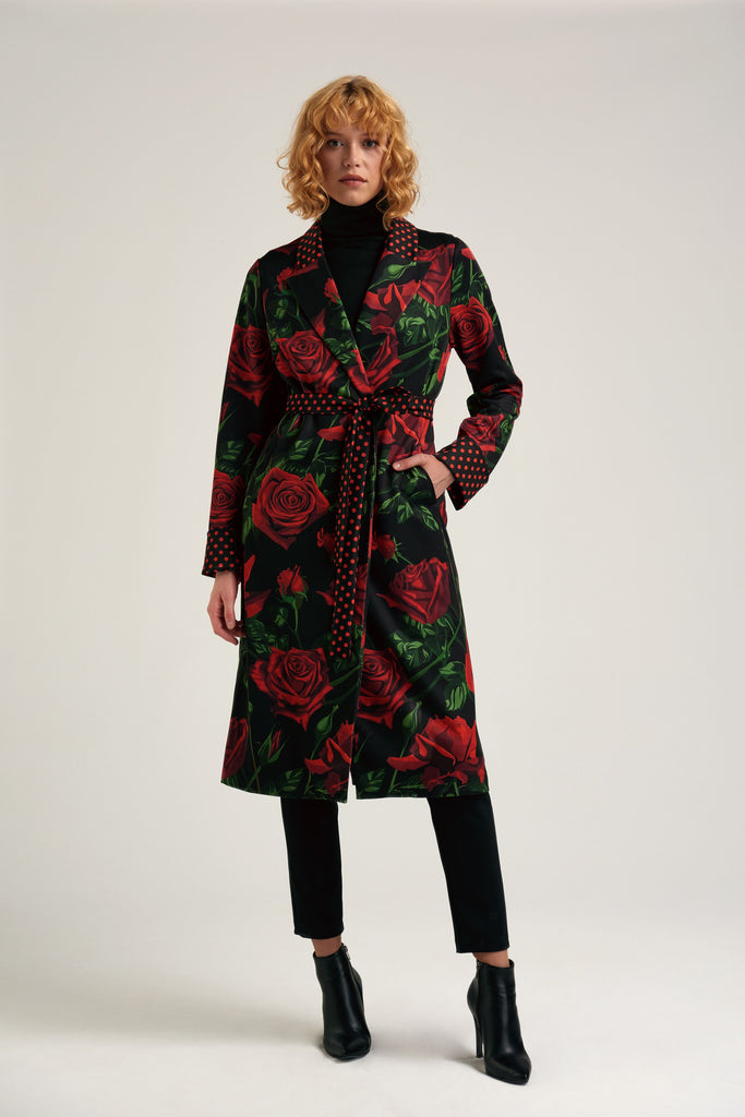 Rose punch- floral trench coat