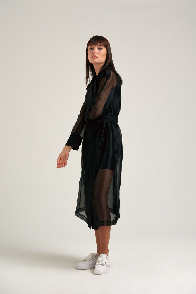 After hour - Black organza wrap dress
