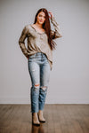 Taupe Tie Dye Ribbed Long Sleeve Top