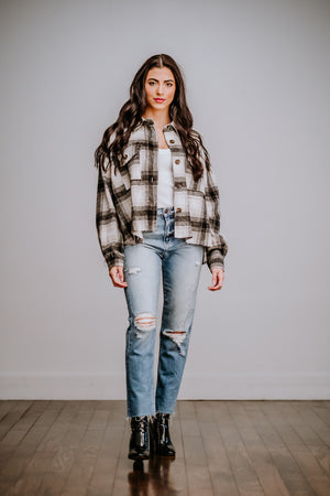 Black Plaid Cropped Jacket