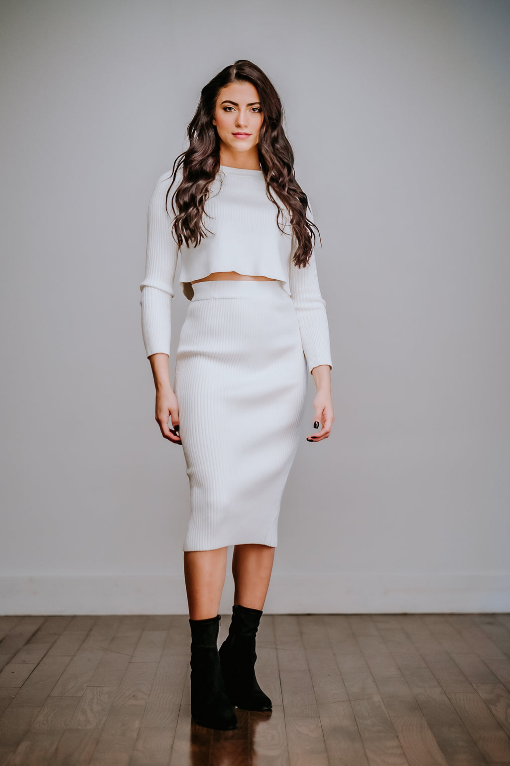 Two Piece Ribbed Cropped Top & Midi Skirt