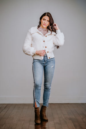 Ivory Faux Fur Cropped Jacket