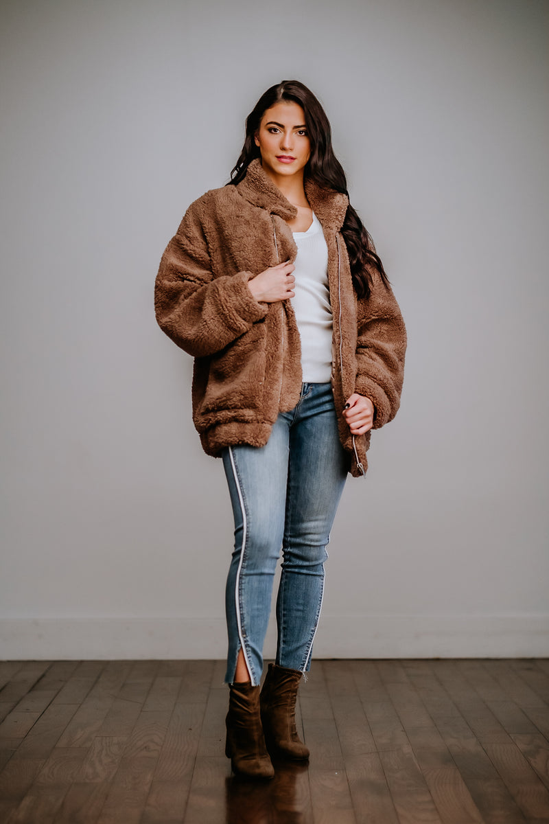 Dutch Cocoa Faux Fur Zip Up