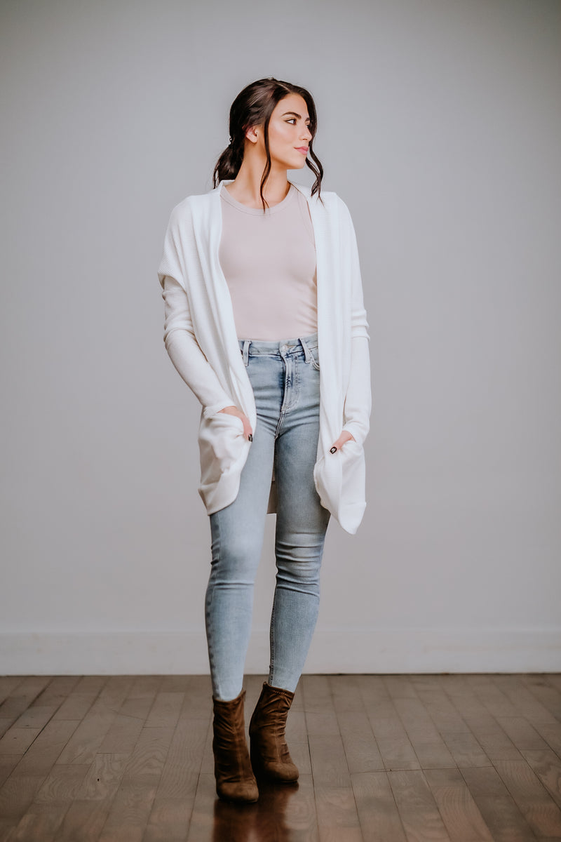 White Over Sized Pocket Cardigan