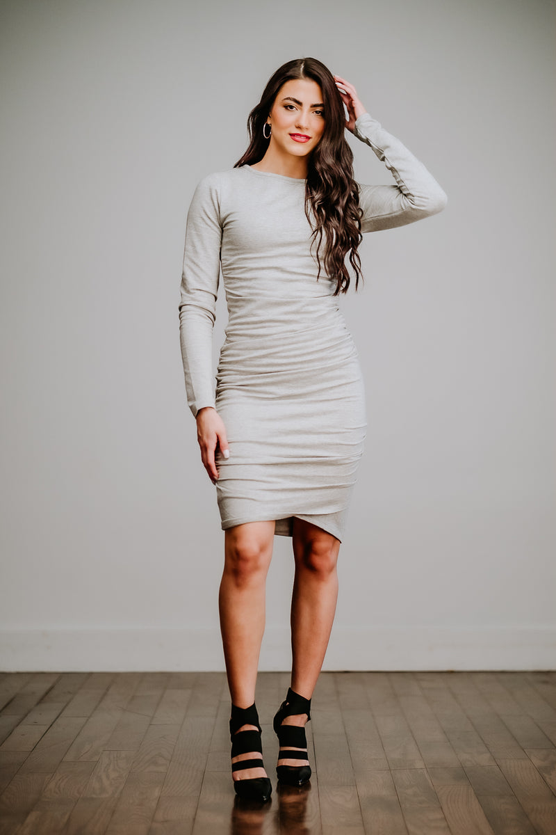 Heather Grey Long Sleeve Ruched Dress
