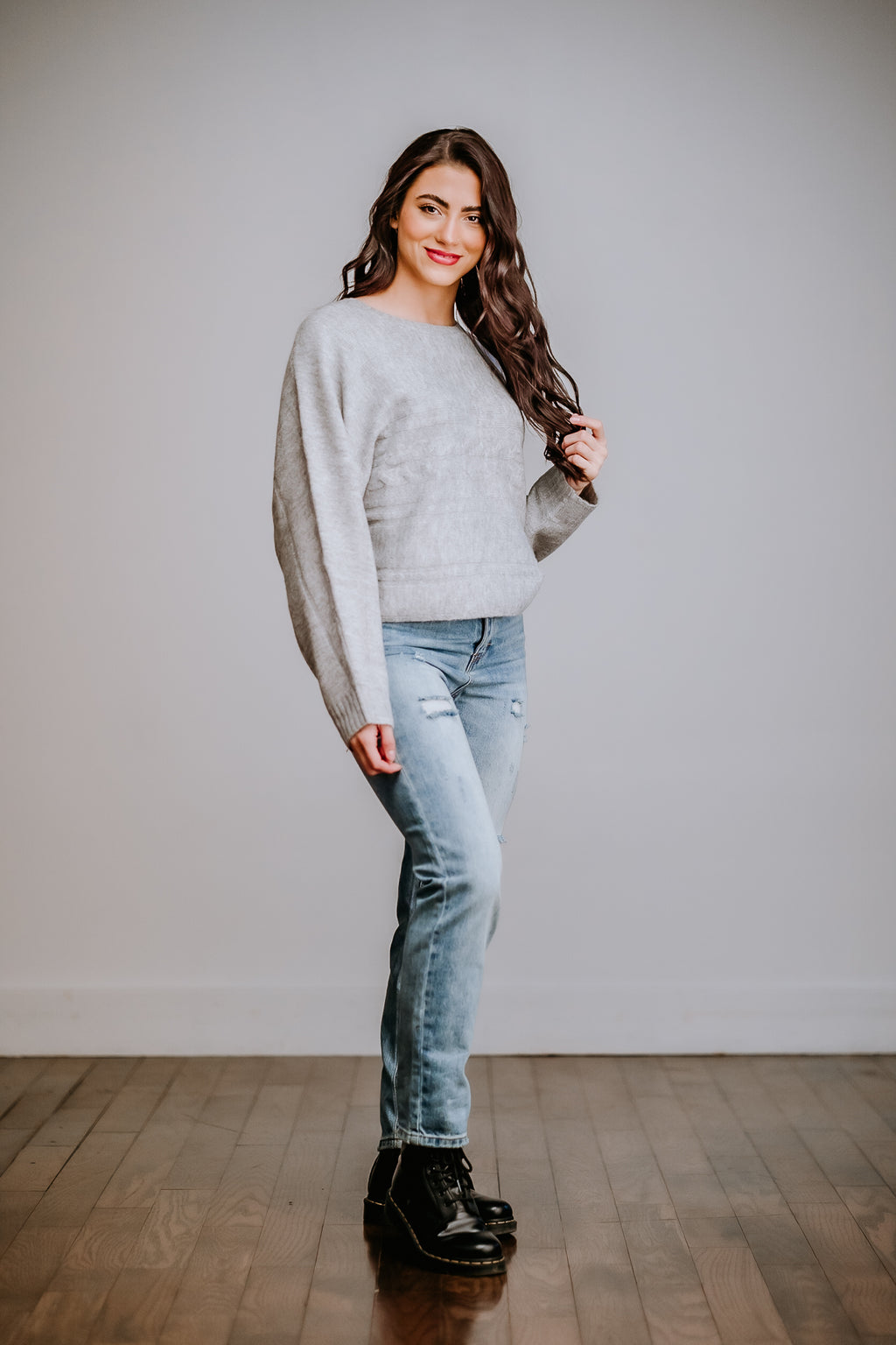 Gray Dolman Sleeve Cropped Sweater