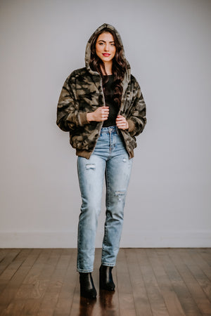Camo Faux Fur Bomber Hoodie