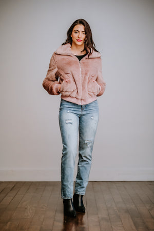 Mauve Faux Fur Zip Up Jacket
