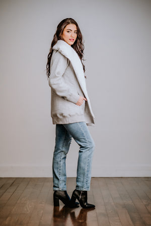 Heather Grey Sherpa Lined Cardigan