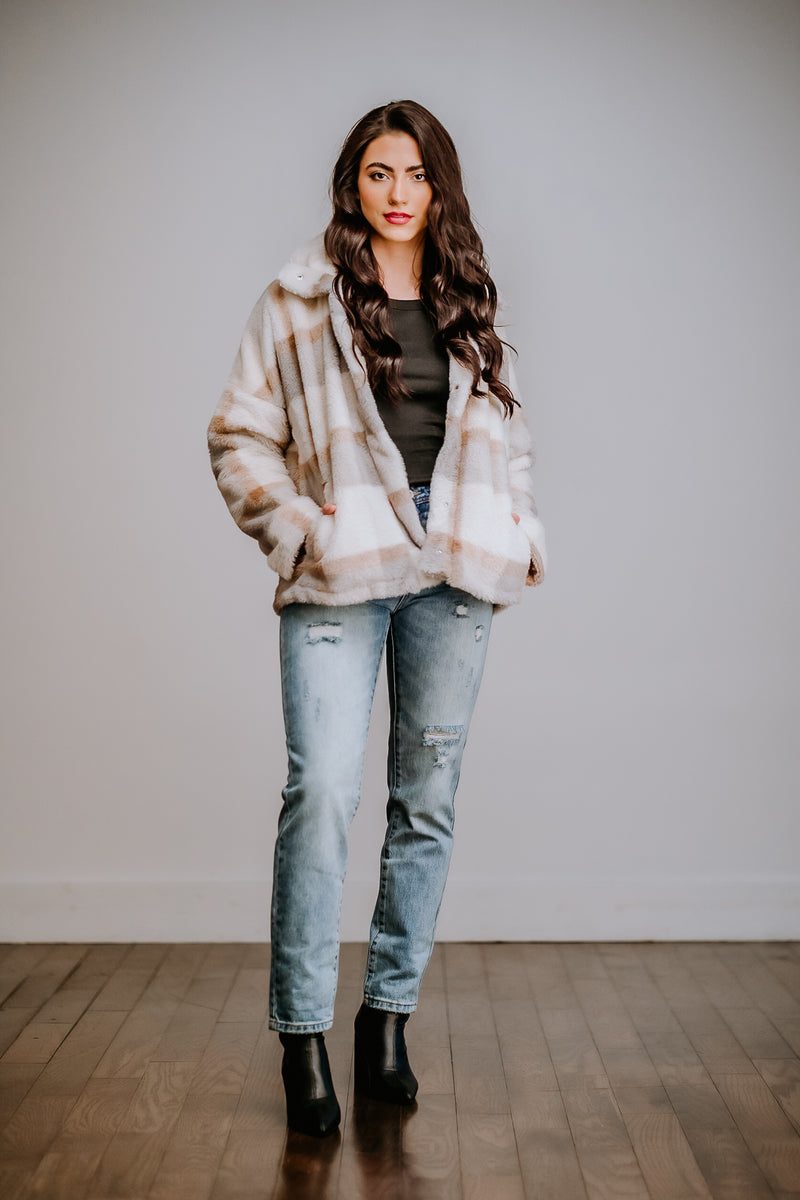 Dusty Blue & Taupe Plaid Faux Fur Jacket