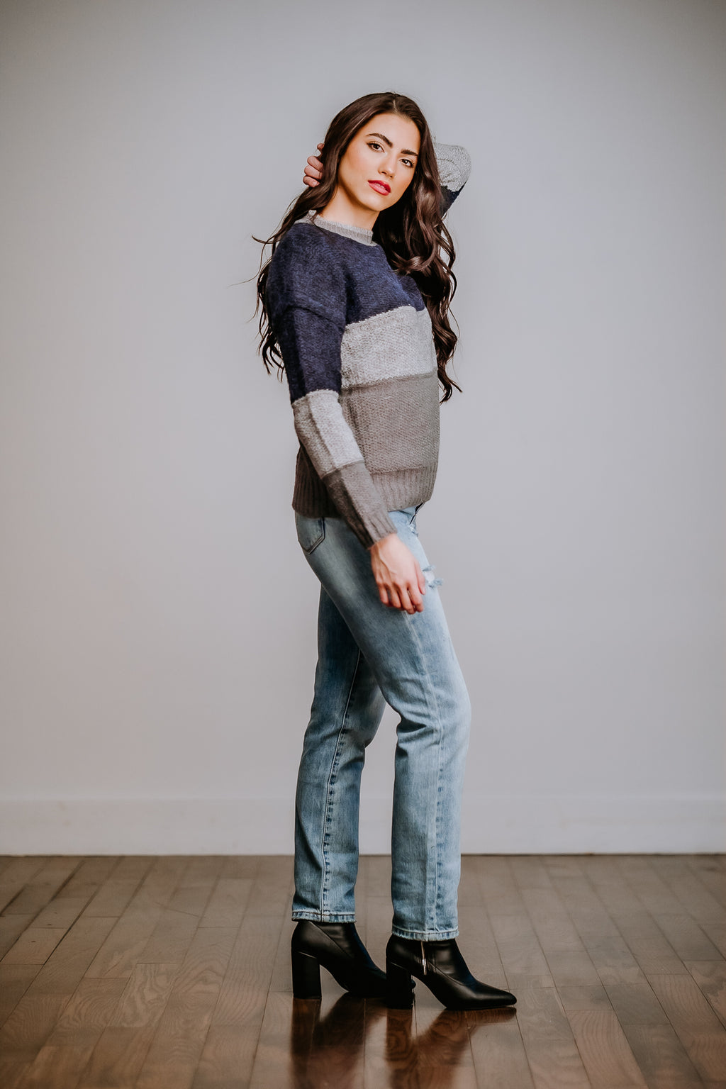 Navy & Gray Color Block Sweater