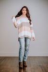 Peach & Taupe Striped Sweater