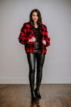 Red & Black Buffalo Plaid Teddy Coat