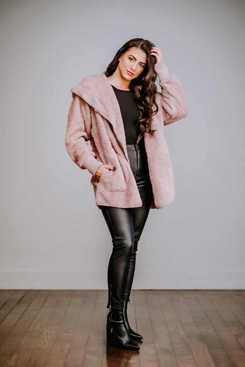 Dusty Mauve Faux Fur Open Cardigan