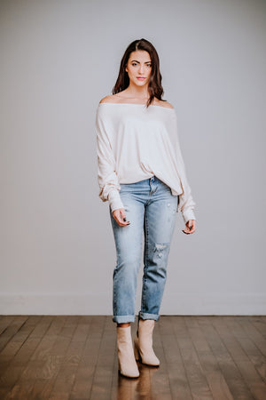 Oatmeal Off Shoulder Batwing Top