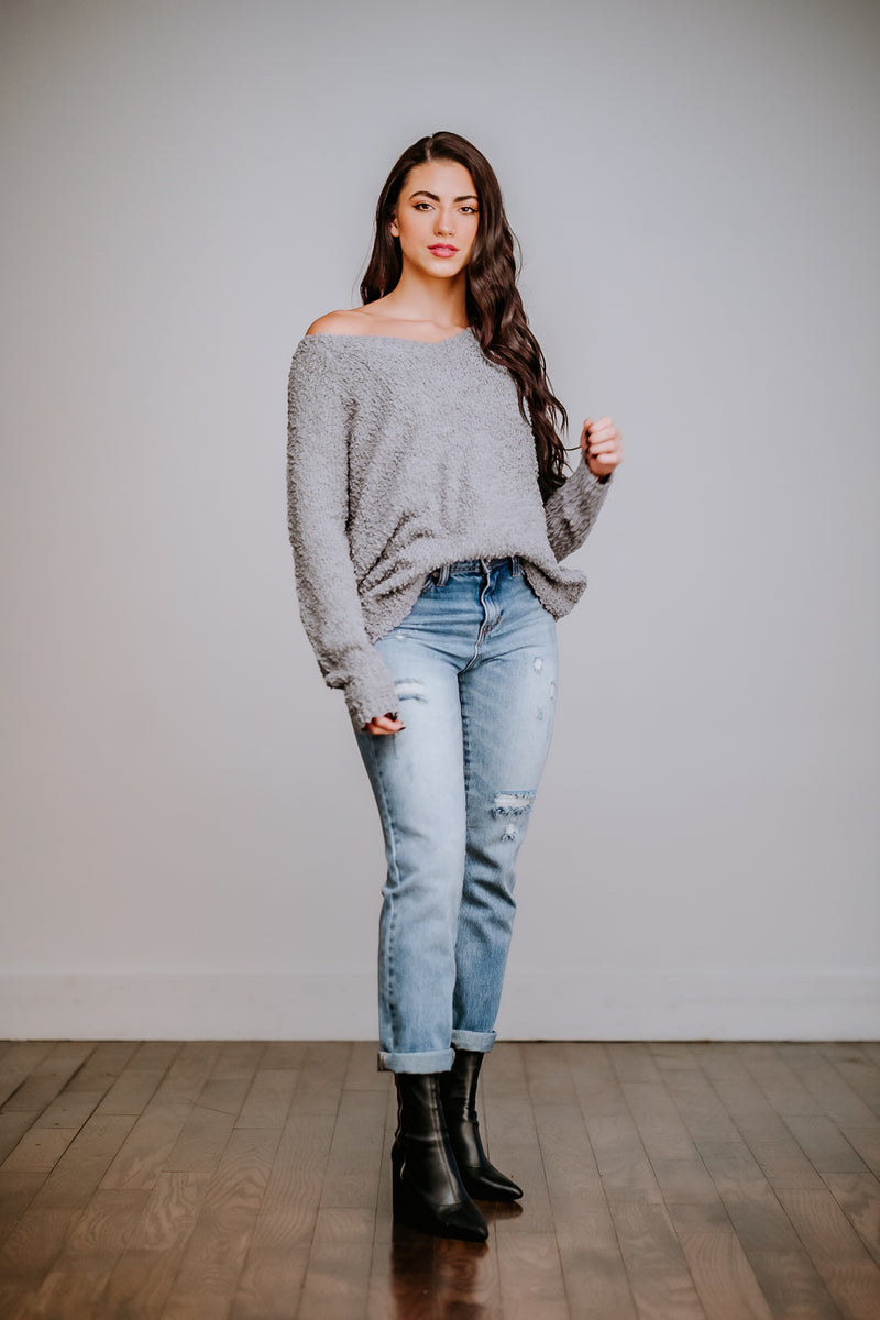Grey Popcorn Pullover Sweater