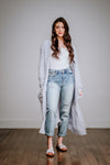 Sky Blue Popcorn Ankle Length Cardigan