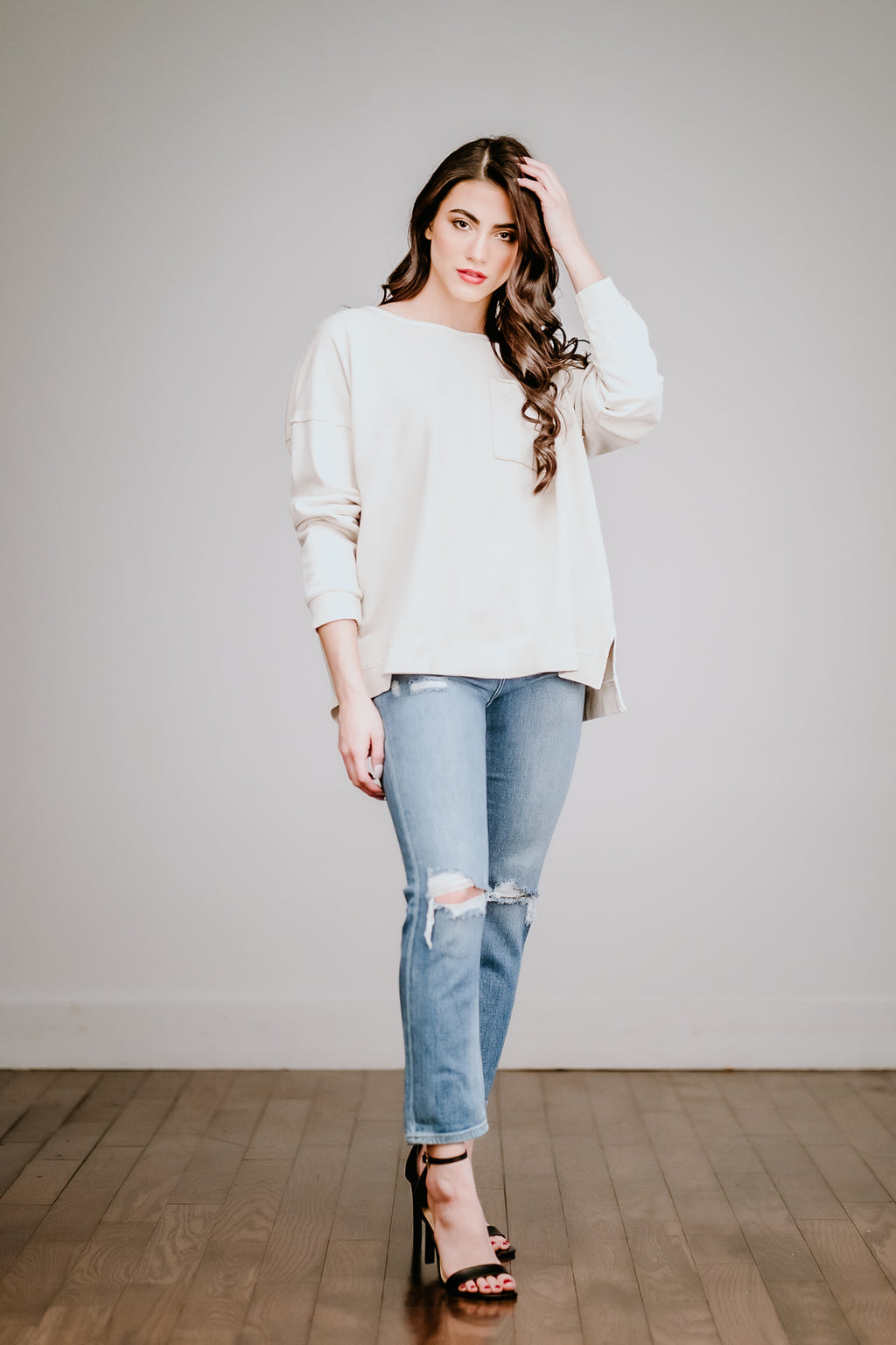 Beige Terry Knit Top