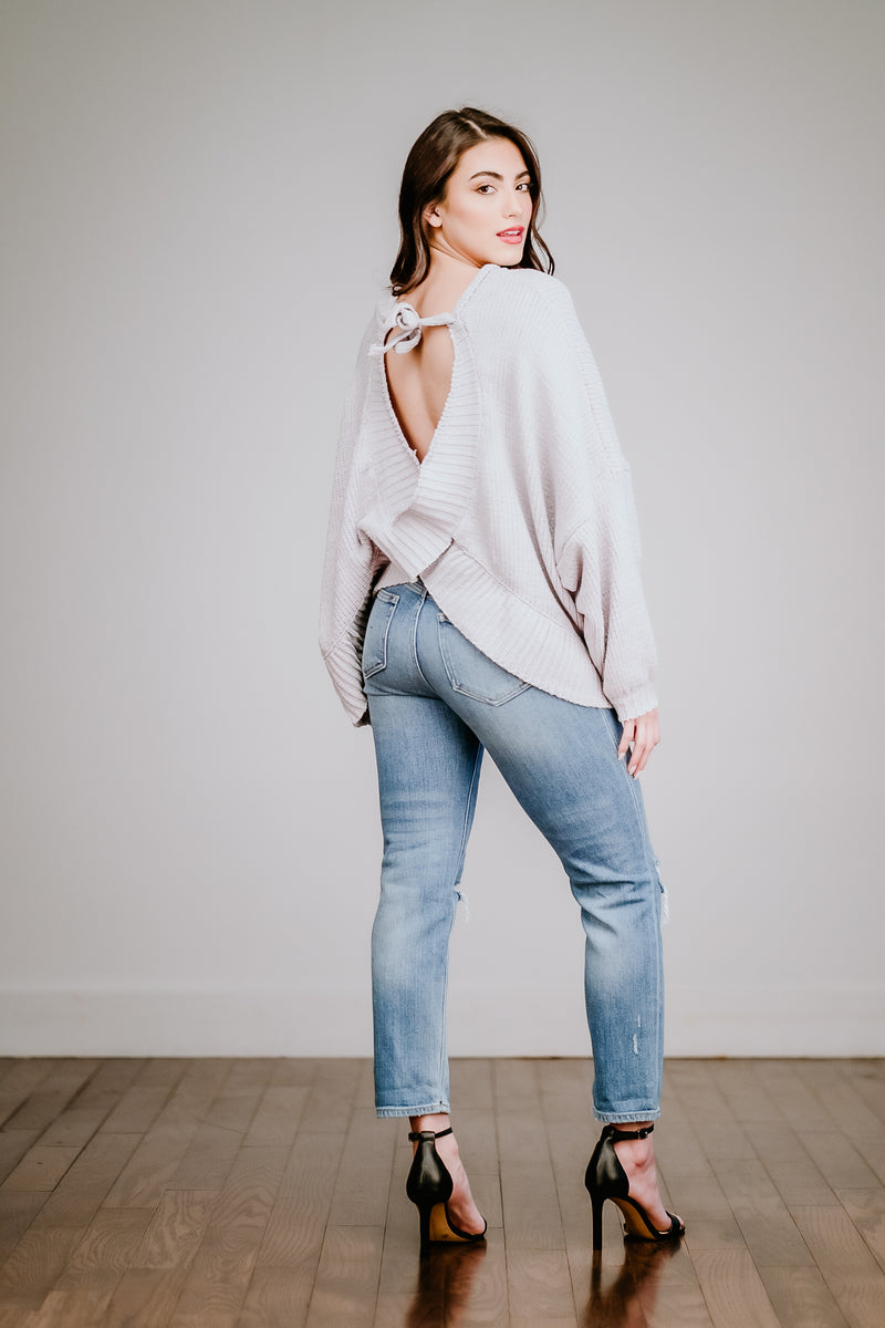 Heather Gray Open Back Sweater