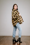 Olive Plaid Teddy Jacket