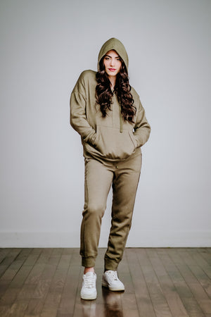 Free People Work It Out Hoodie- Army