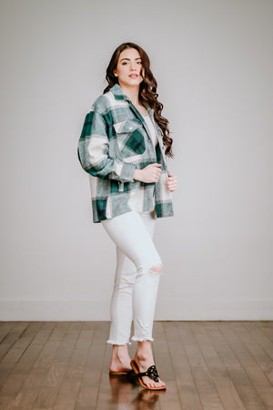 Green Plaid Shirt Jacket