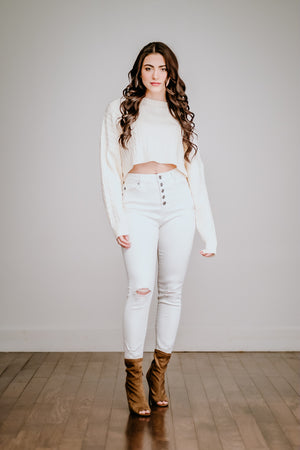Ivory Cableknit Cropped Sweater
