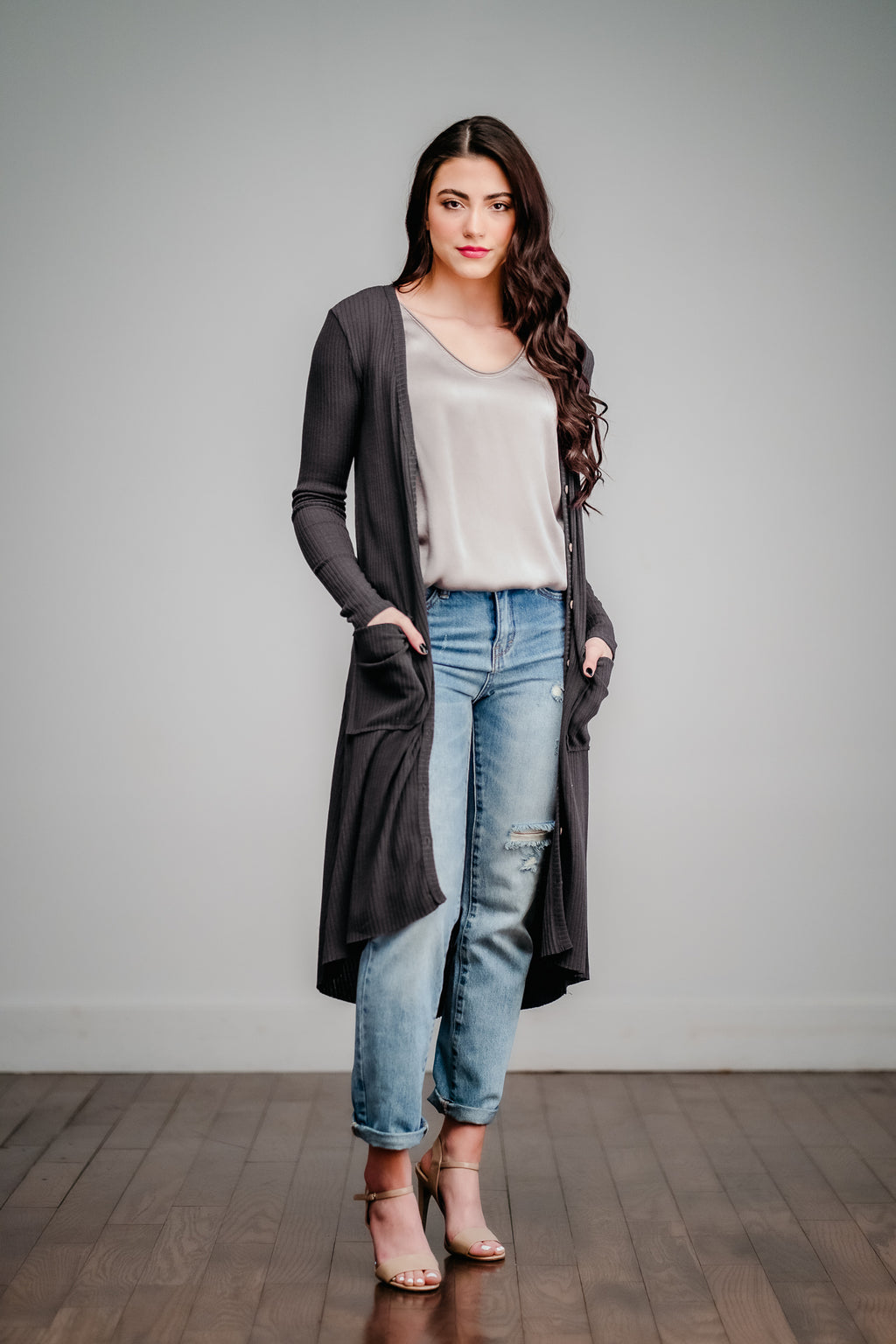 Charcoal Button Up Ribbed Cardigan