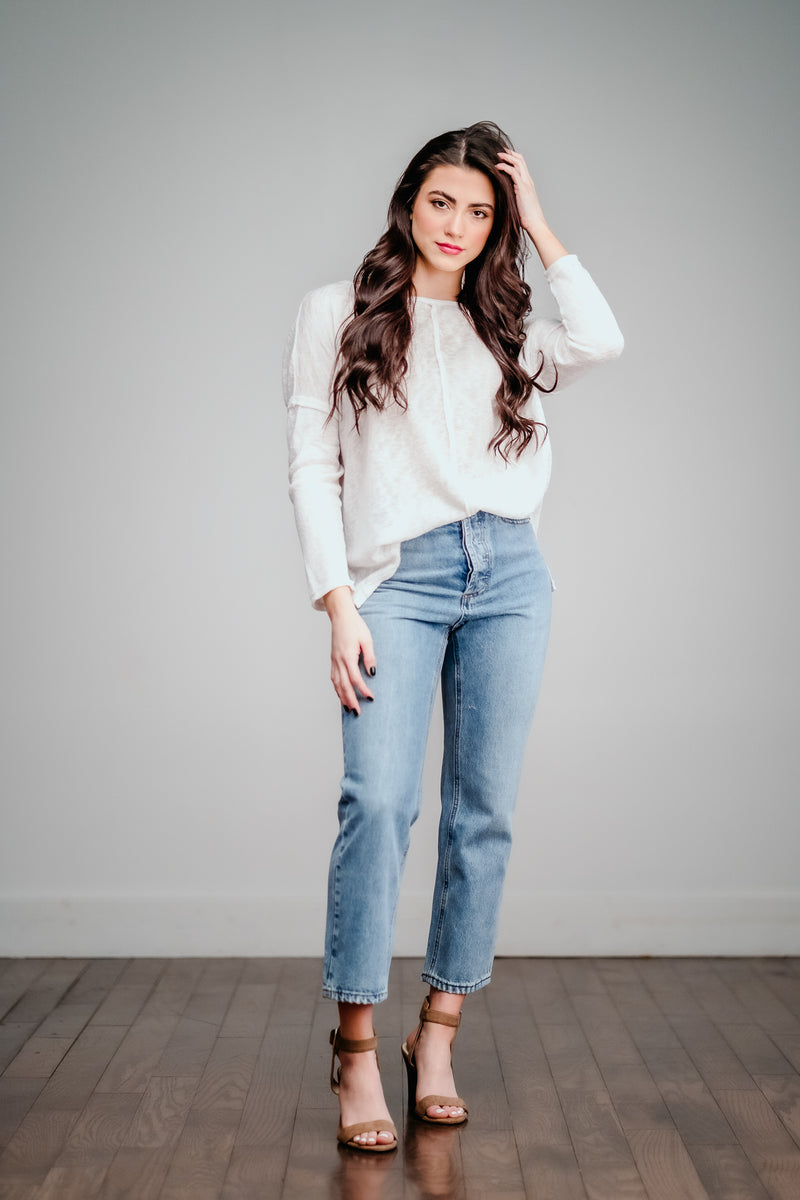 Cropped Medium Wash High Waist Straight Leg Jeans