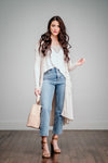 Taupe Button Up Ribbed Cardigan