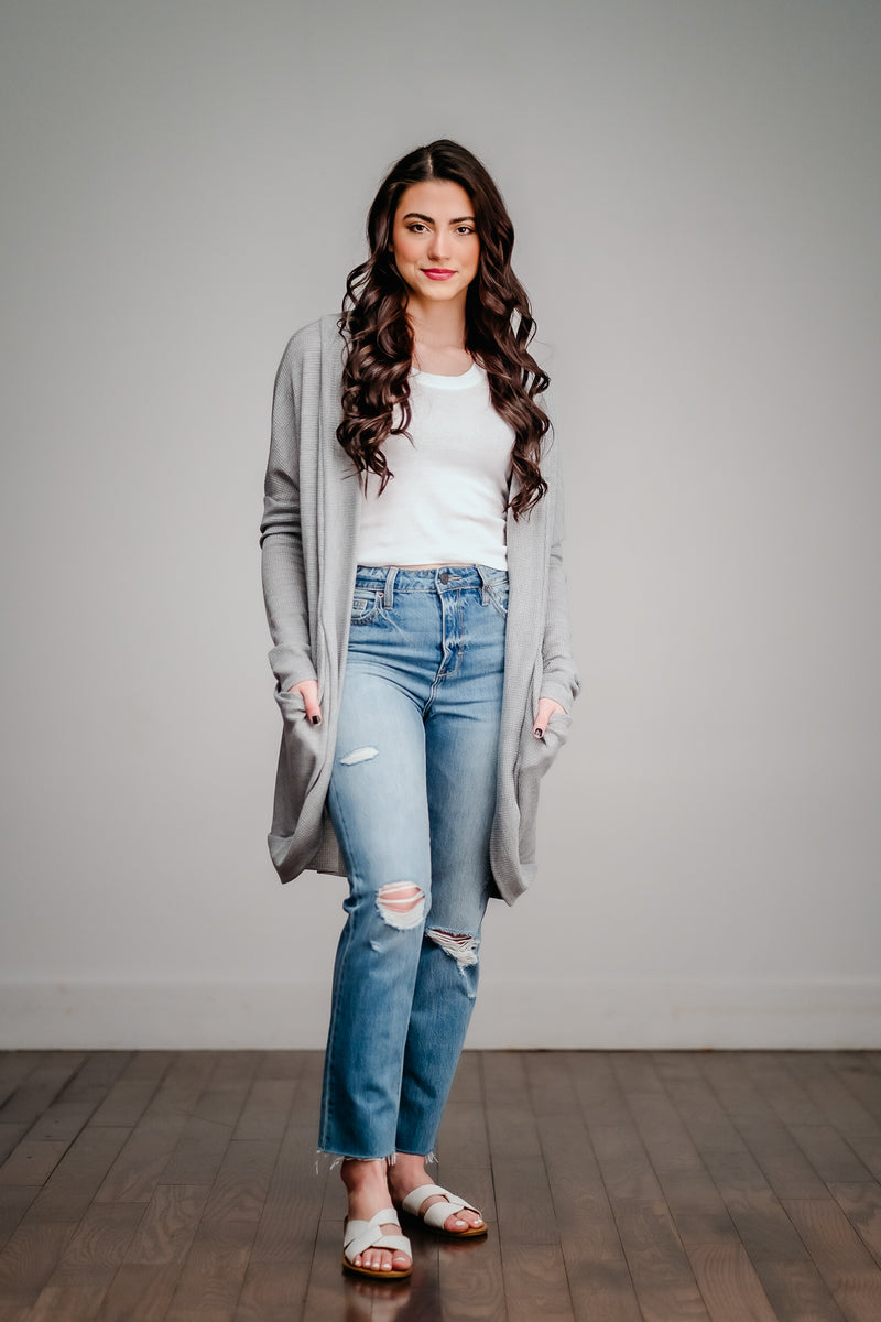 Gray Over Sized Pocket Cardigan