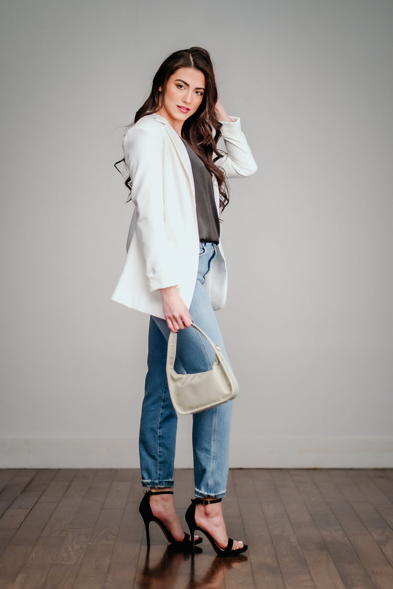 White Front Pocket Blazer