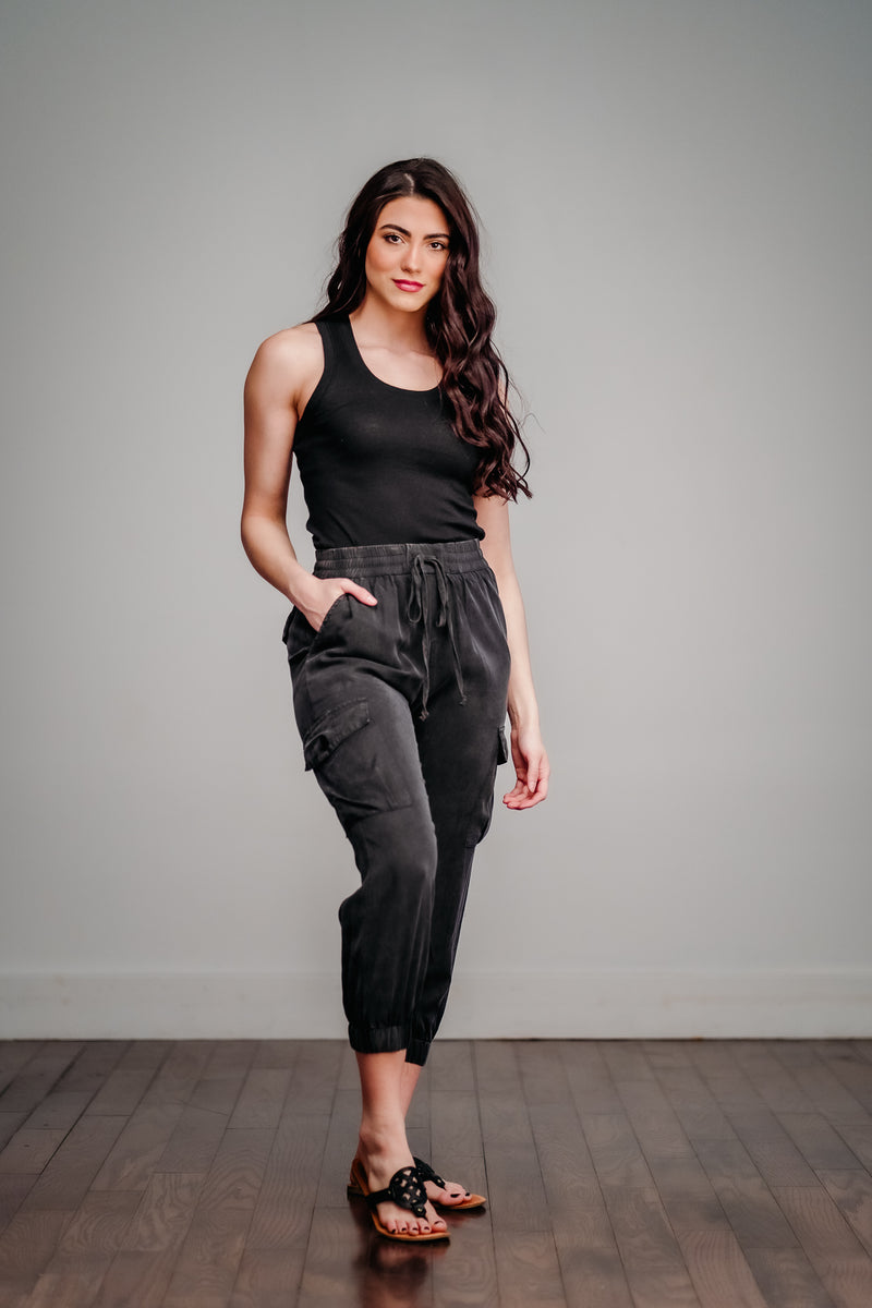 Black Mineral Washed Cargo Joggers