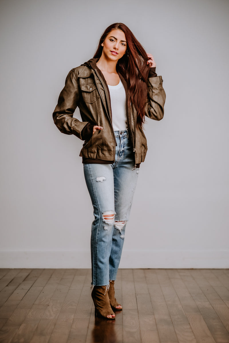 Mocha Vegan Leather Jacket
