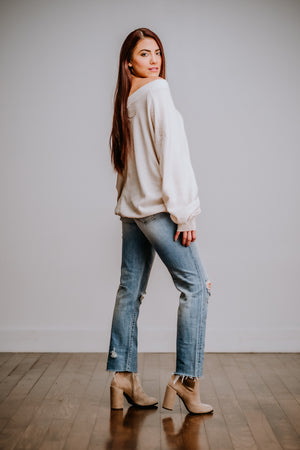 Oatmeal Mineral Washed Waffle Knit Top