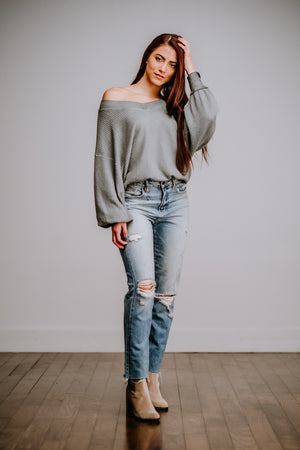 Moss Mineral Washed Waffle Knit Top