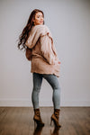 Taupe Faux Fur Open Cardigan