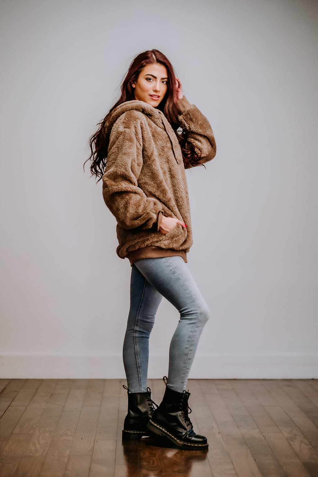 Cocoa Oversized Faux Fur Hoodie