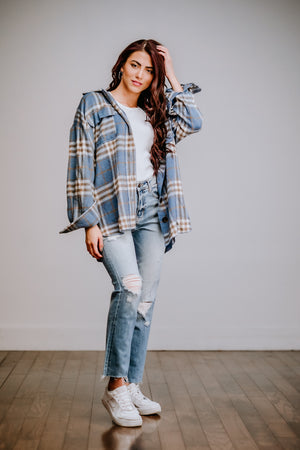 Oversized Plaid Button Down