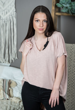 High Low V Neck Top