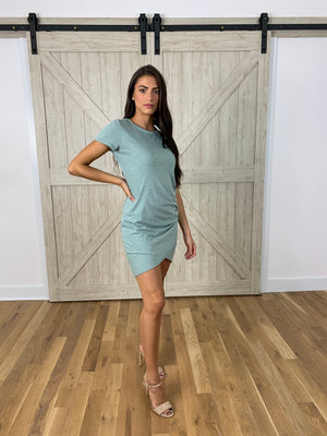 Sage Ruched T Shirt Dress