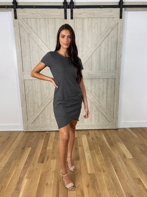 Carbon Ruched T Shirt Dress