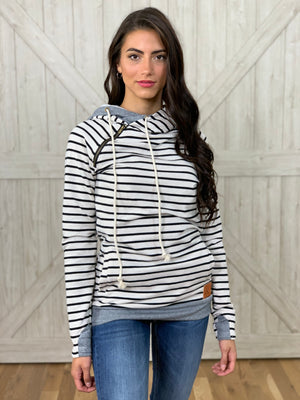 Tan & Black Striped Hoodie
