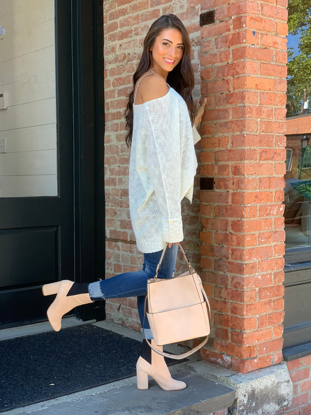 Off White High Low Sweater