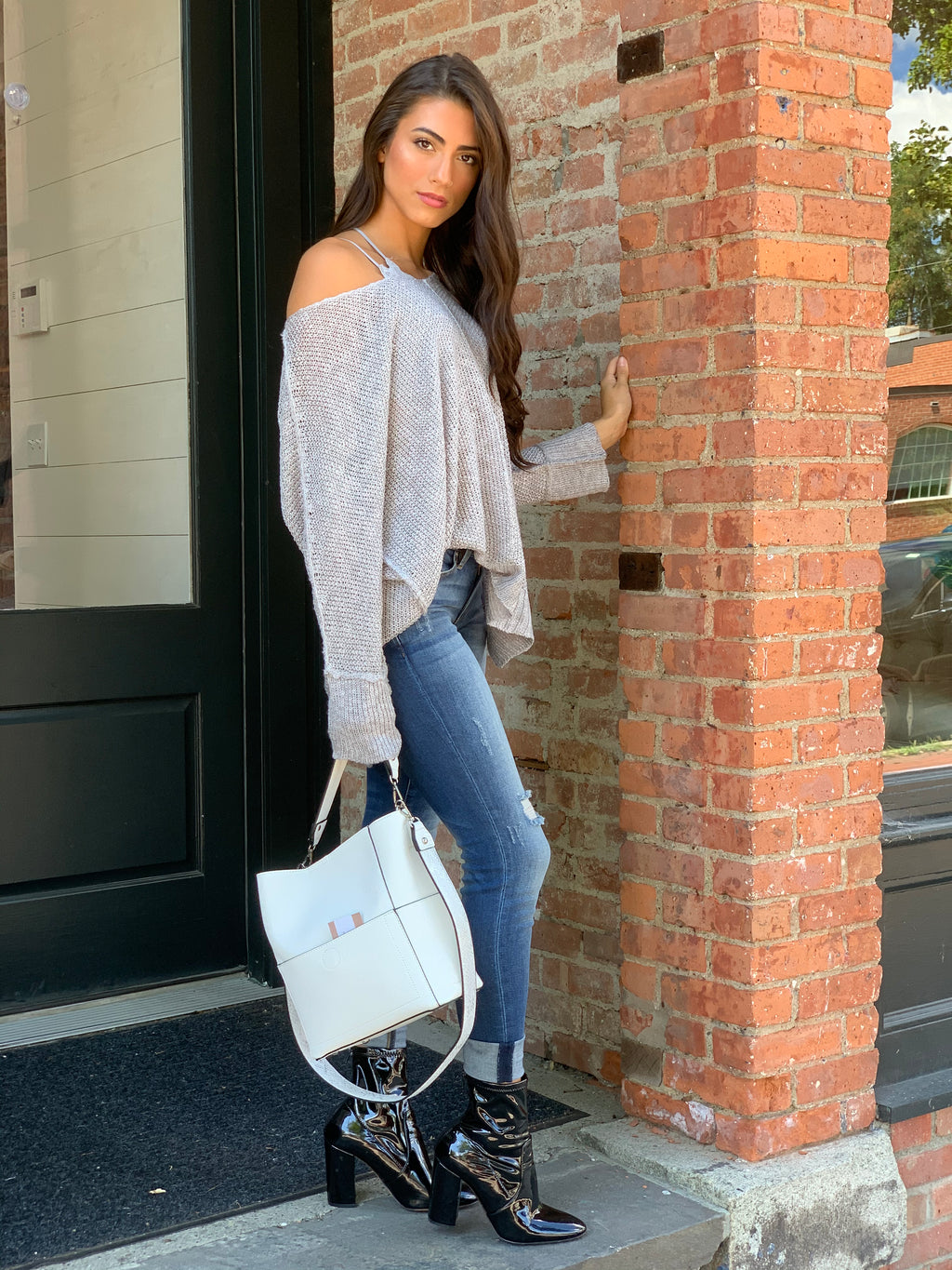 Gray High Low Sweater